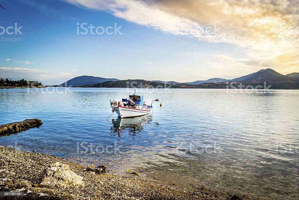 Lefkada boats stock photo