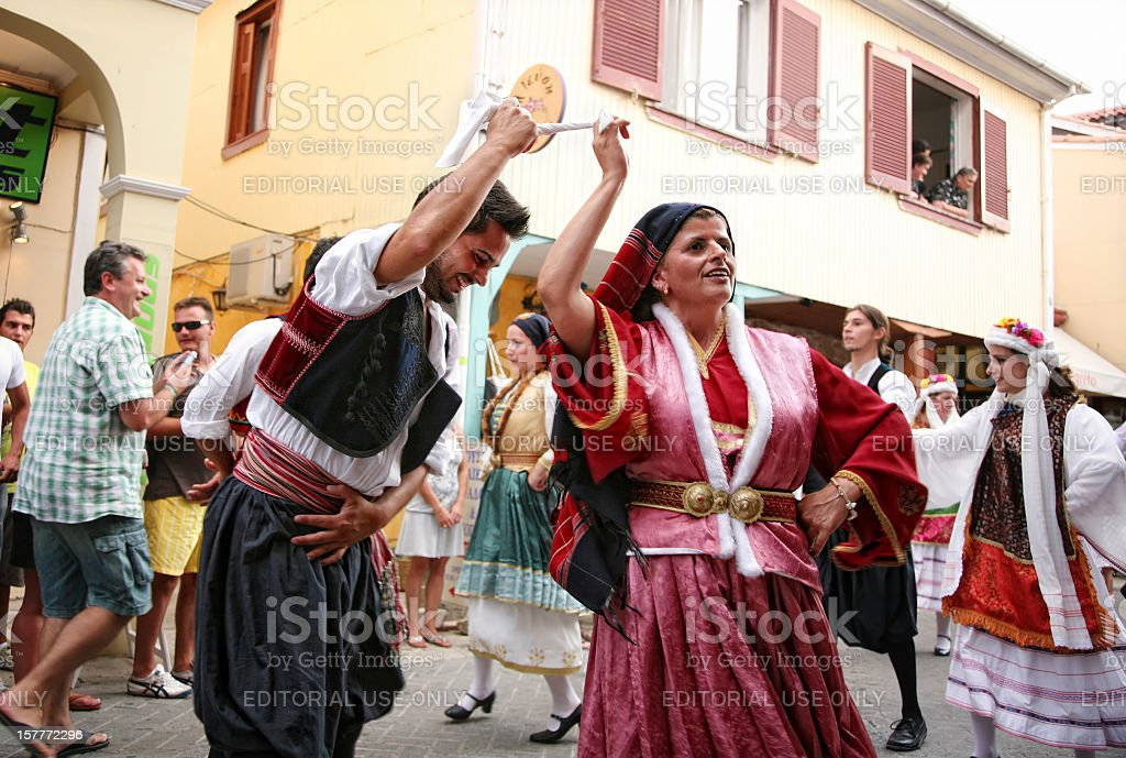 Lefkas International Folklore Festival, parade, local group stock photo