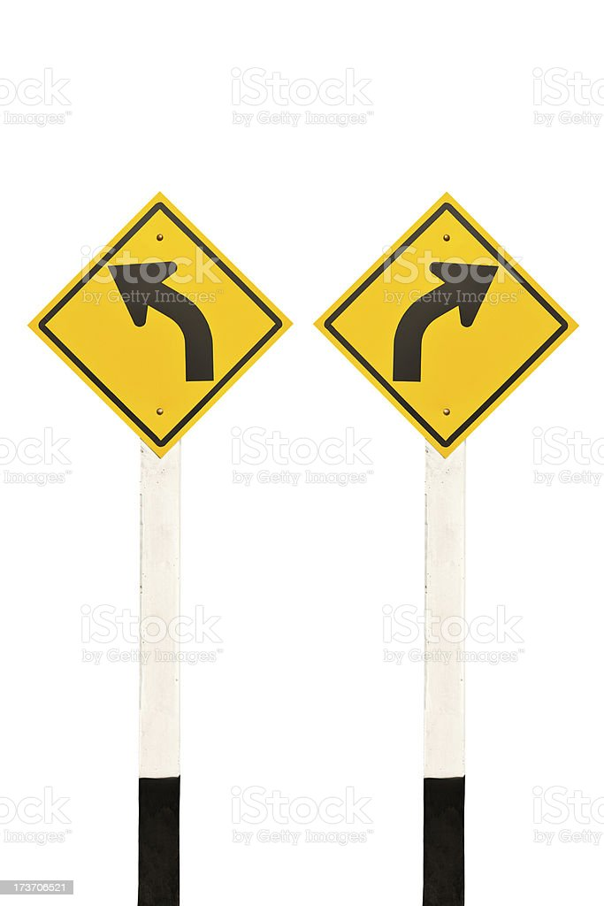 Left and right curved road signpost royalty-free stock photo