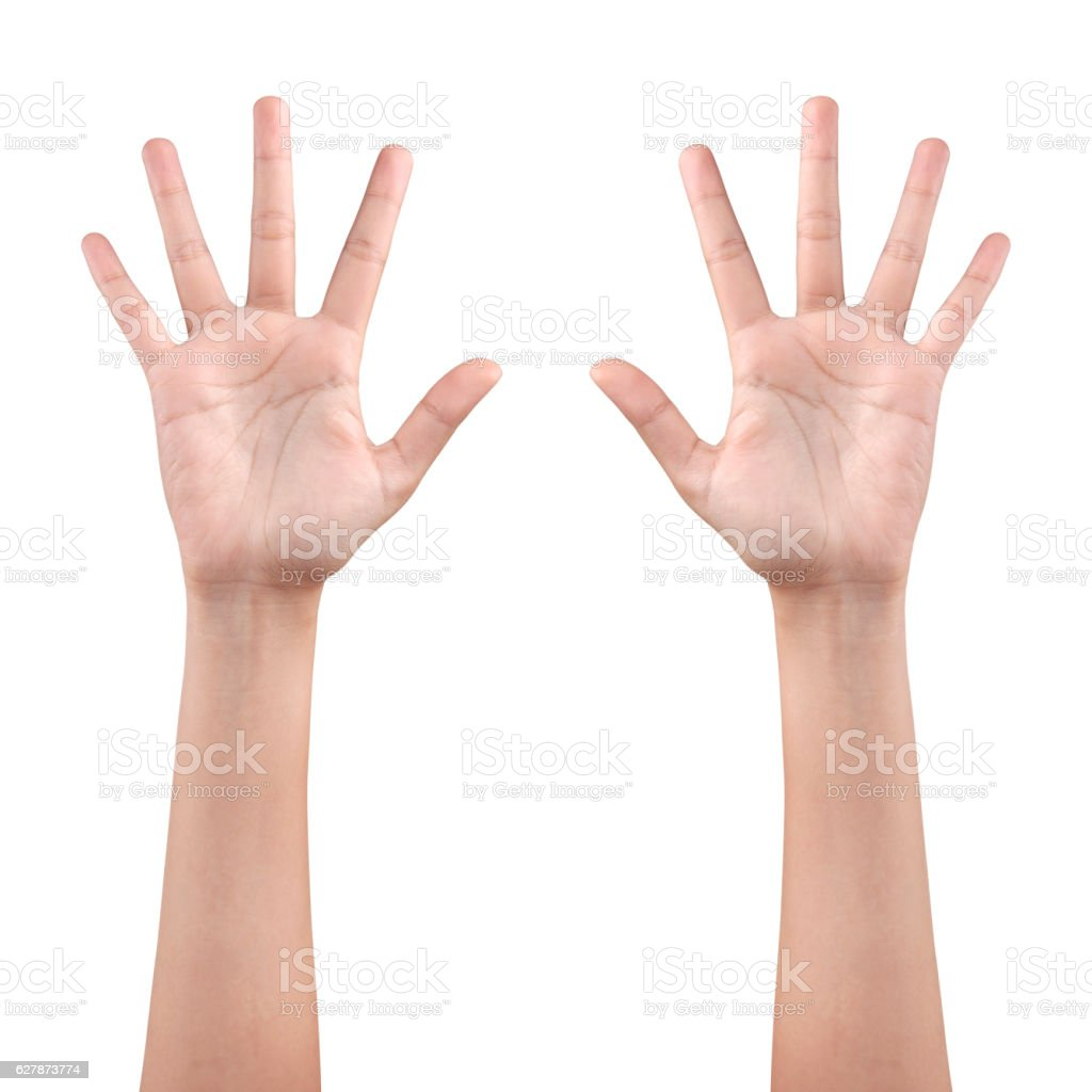 left and right hand showing the fingers with clipping path stock photo