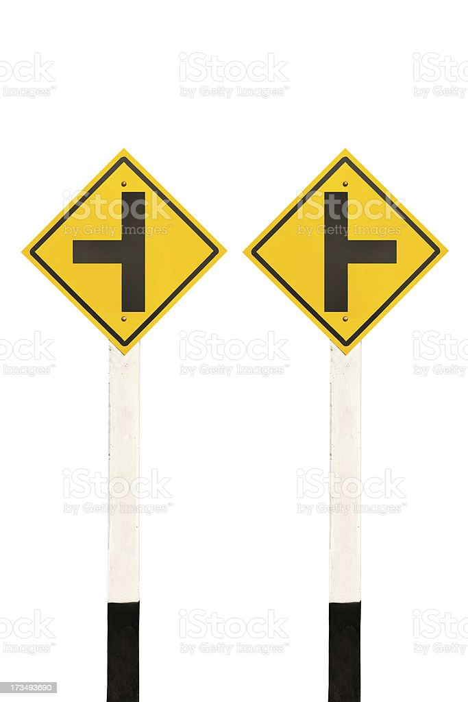 Left and right junction  road signpost royalty-free stock photo