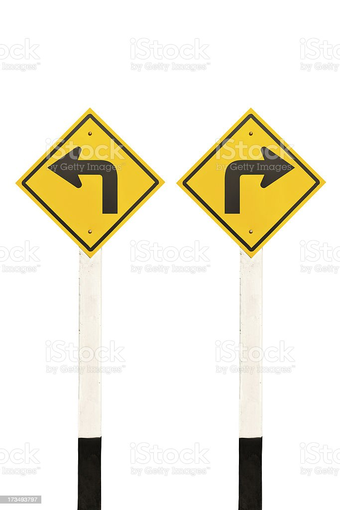 Left and right turn road signpost royalty-free stock photo