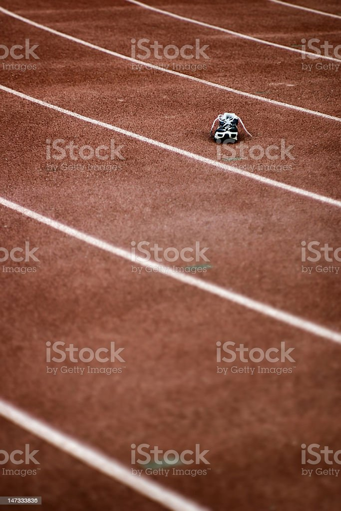 Left back on the running track stock photo