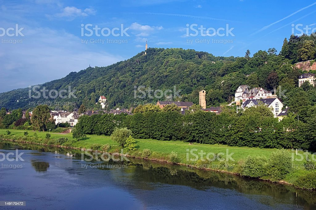 Left bank of the Moselle River in Trier, Germany stock photo