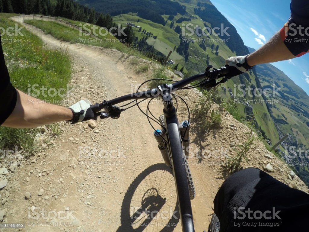 Left berm on a mountainbike trail going down the mountain in Austria stock photo