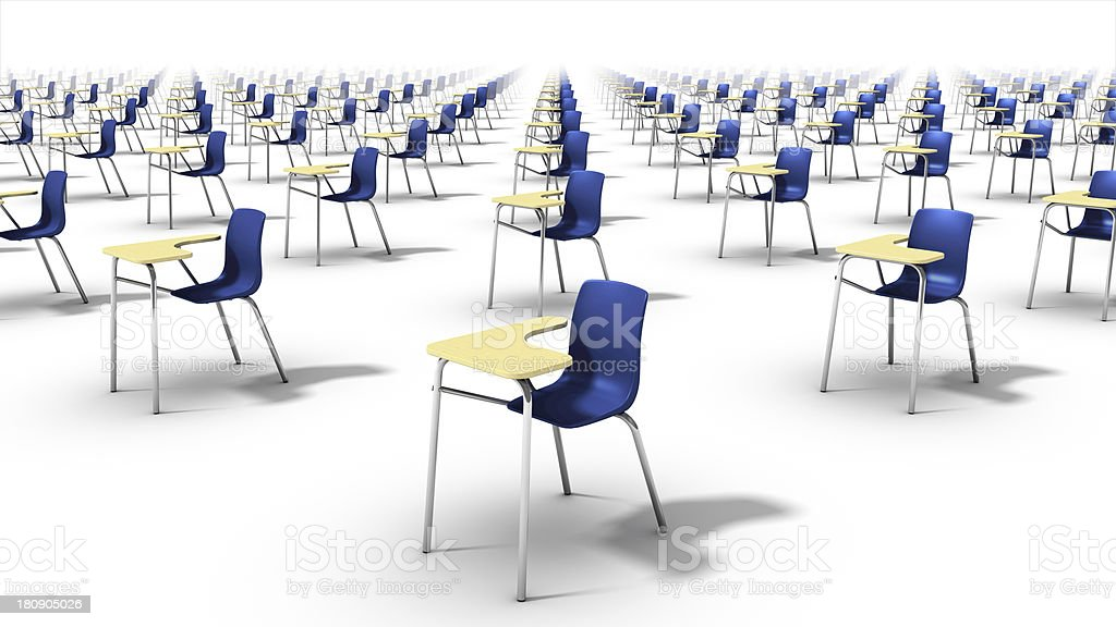 Left diagonal view of endless school chairs. royalty-free stock photo