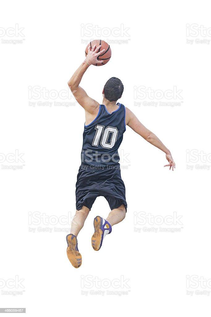 left hand dunk on white stock photo