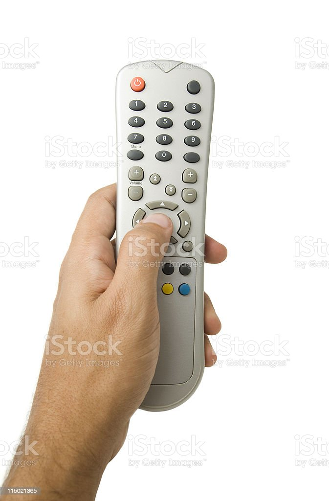 Left hand holding and using a remote control stock photo