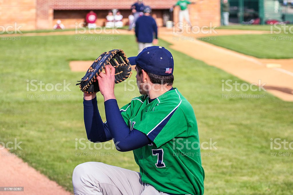 Left Handed Baseball Pitcher Warm Up Throwing stock photo