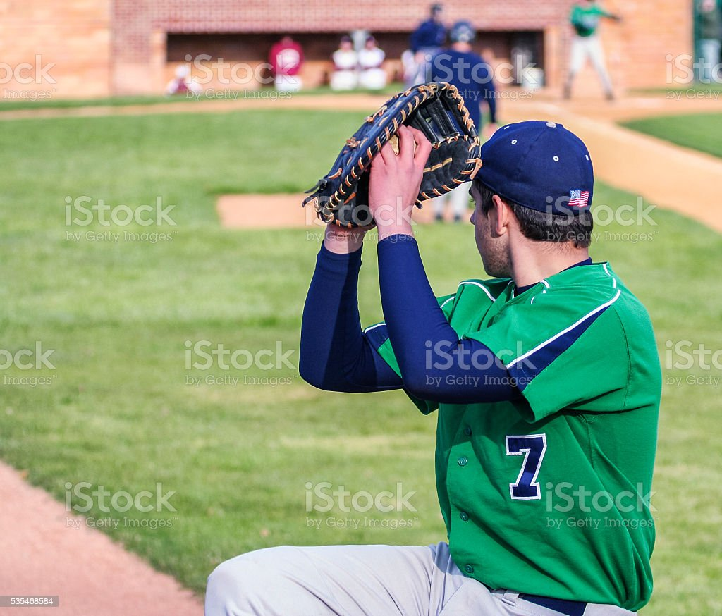 Left Handed Baseball Pitcher Warming Up stock photo