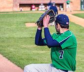Left Handed Baseball Pitcher Warming Up