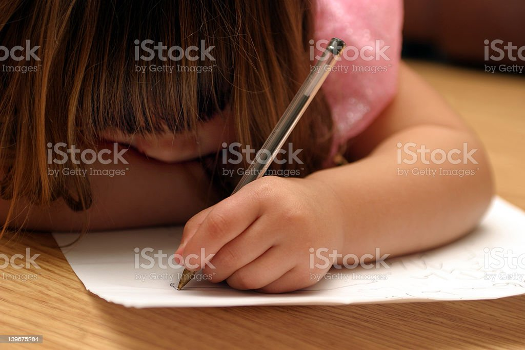 Left handed doodling stock photo