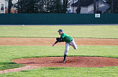 Left Handed High School Baseball Pitcher Throwing Pitch