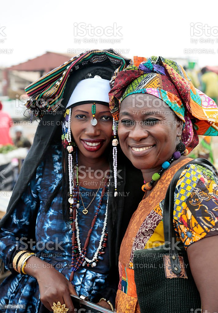 Left: just-married 'Fula', right: Wolof (tribe) women, Gambia. stock photo