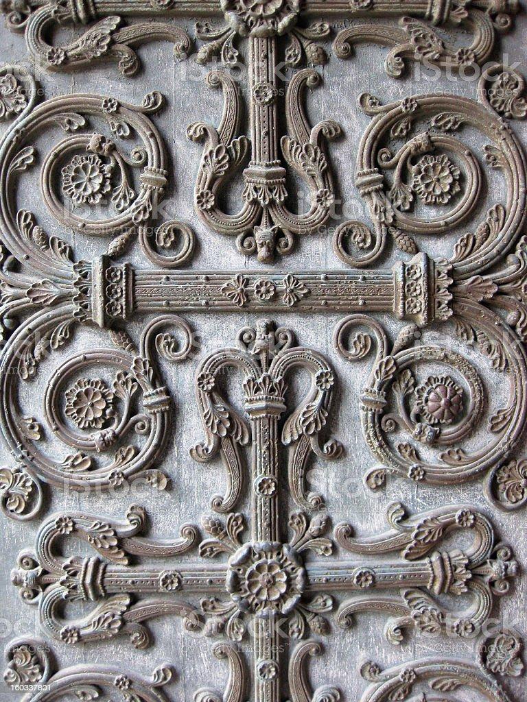 Left Portal Detail, Basilica of St. Denis, Paris royalty-free stock photo