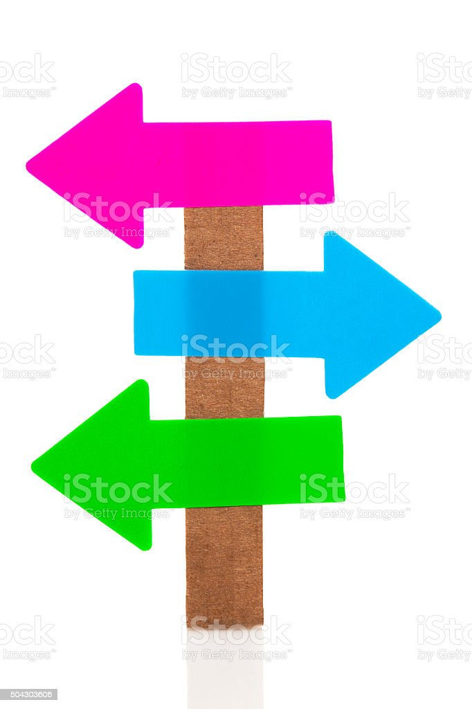 Left - Right signpost isolated on white background stock photo