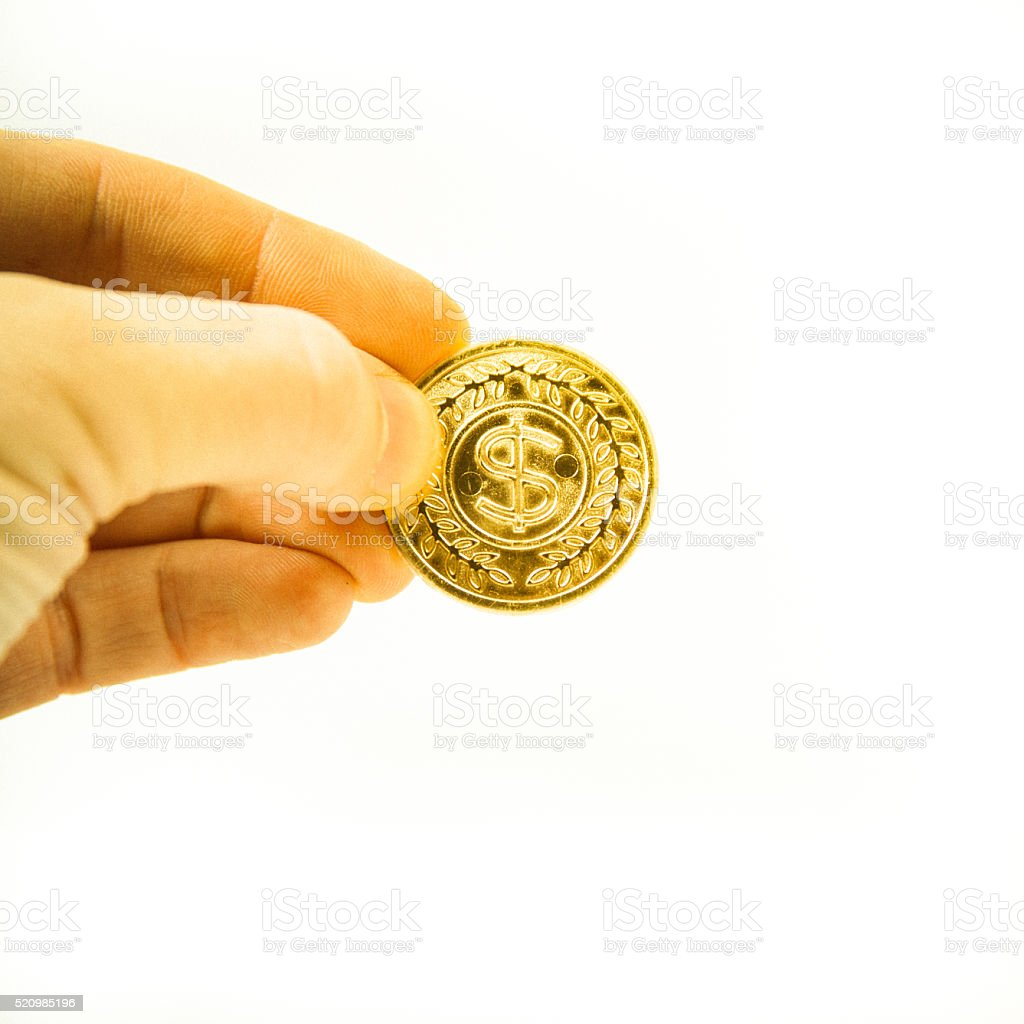 Left side gold coin stock photo