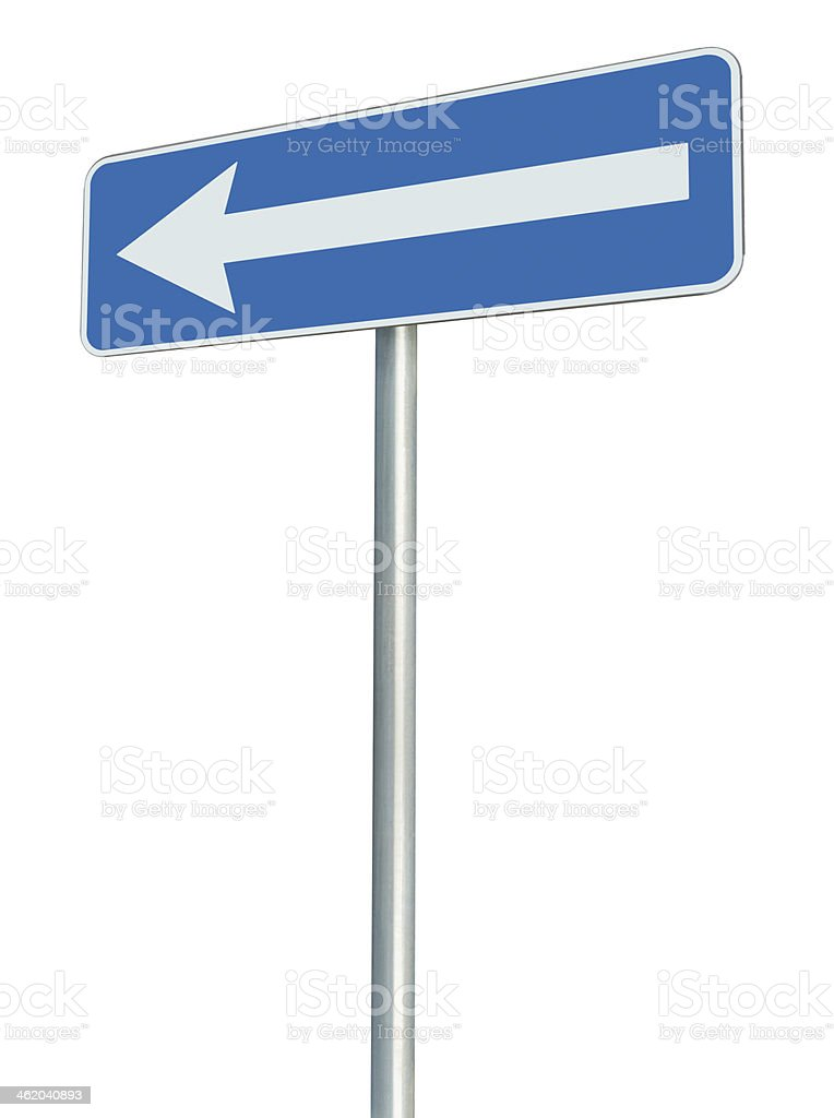 Left traffic route only direction sign turn pointer, blue isolated stock photo