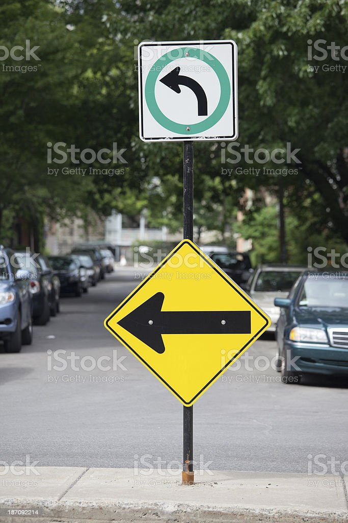 Left turn only and one way sign, Montreal, Canada royalty-free stock photo