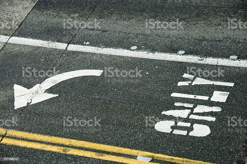 Left turn only stock photo