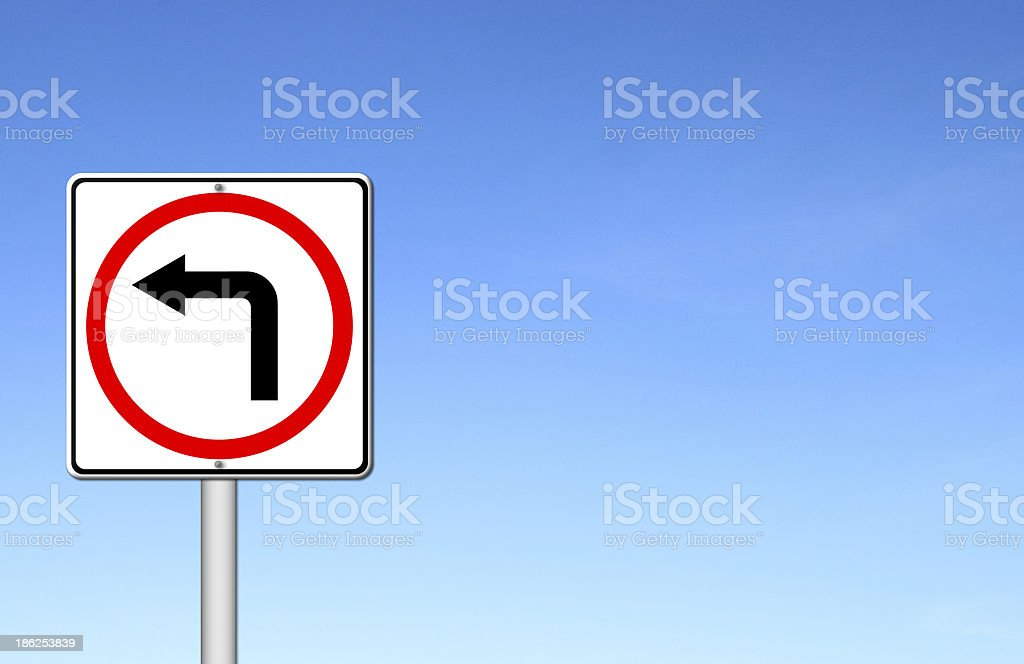 left turn road sign over blue sky royalty-free stock photo