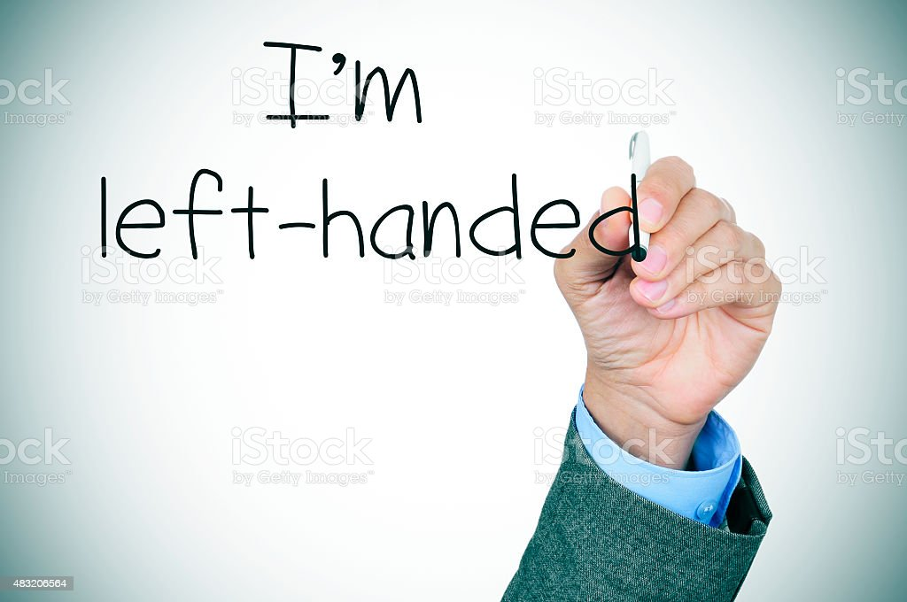 left-handed writting the text I am left-handed stock photo
