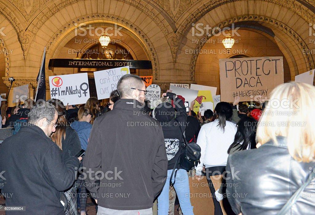Leftists and instigators protesting Donald Trump election win stock photo