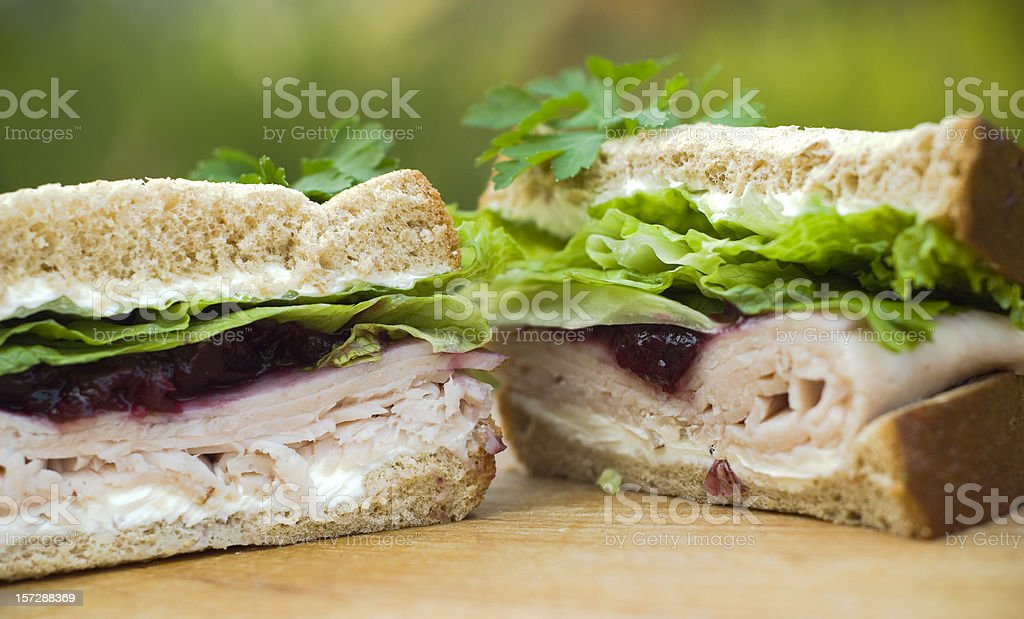 Leftover Holiday Thanksgiving Roast Turkey Dinner & Cranberry Sauce Sandwich Lunch royalty-free stock photo