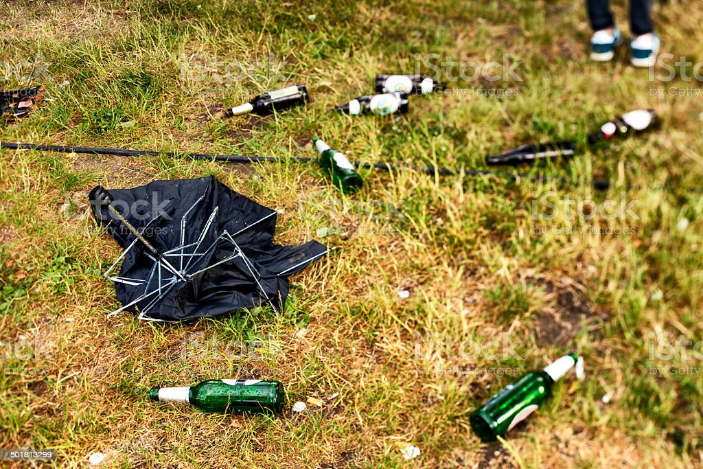 Leftover of party on lawn royalty-free stock photo
