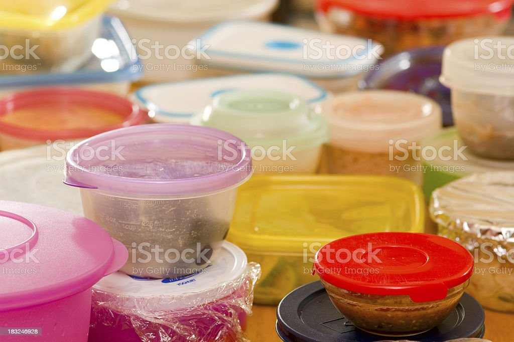 Leftovers in Plastic Food Containers stock photo