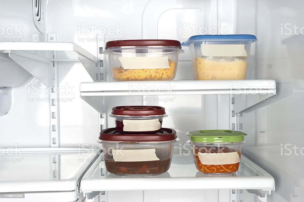 Leftovers in tupperware stock photo