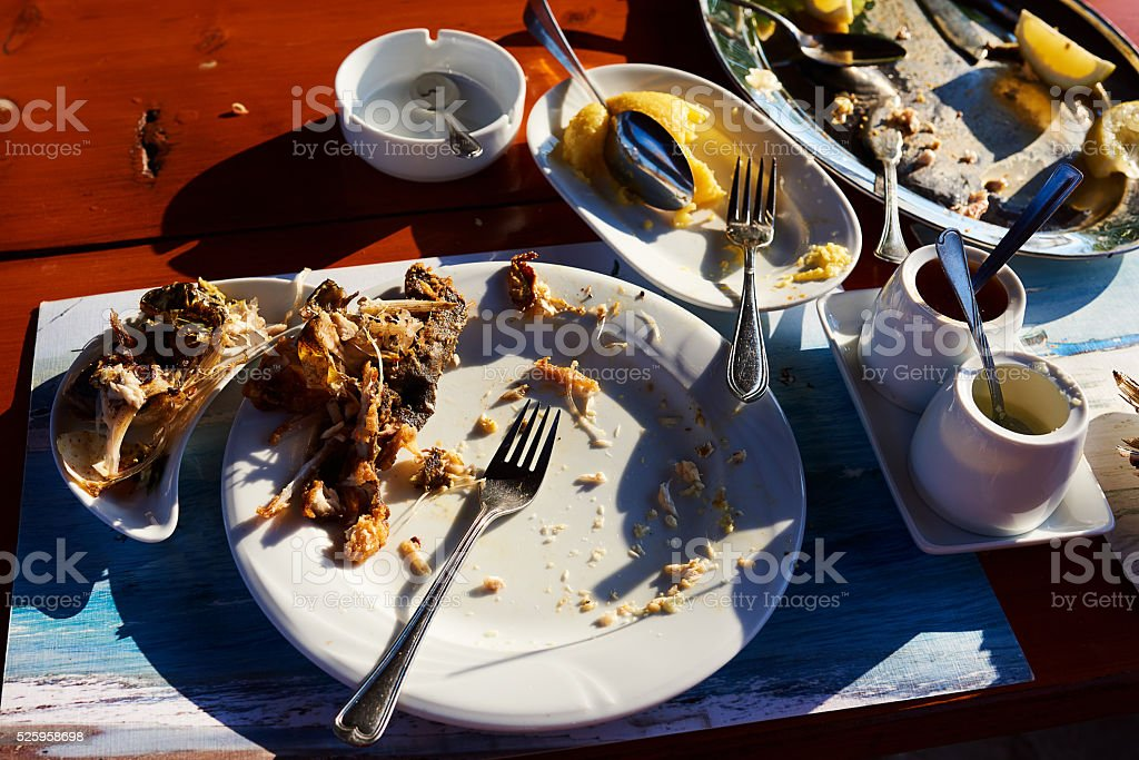 leftovers of food stock photo