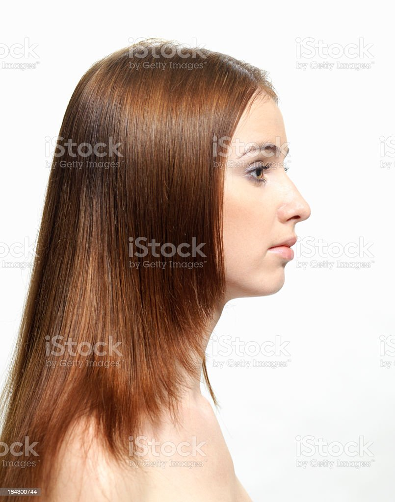 Left-side profile of a woman stock photo