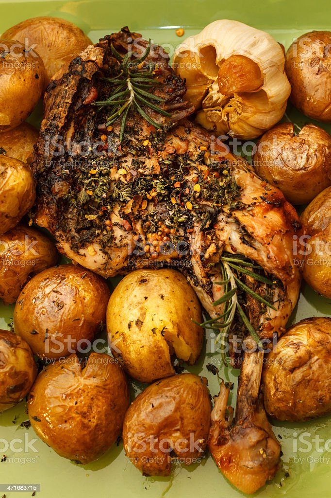 Leg chicken with potatoes royalty-free stock photo