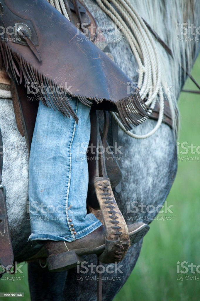 leg in stirrup stock photo