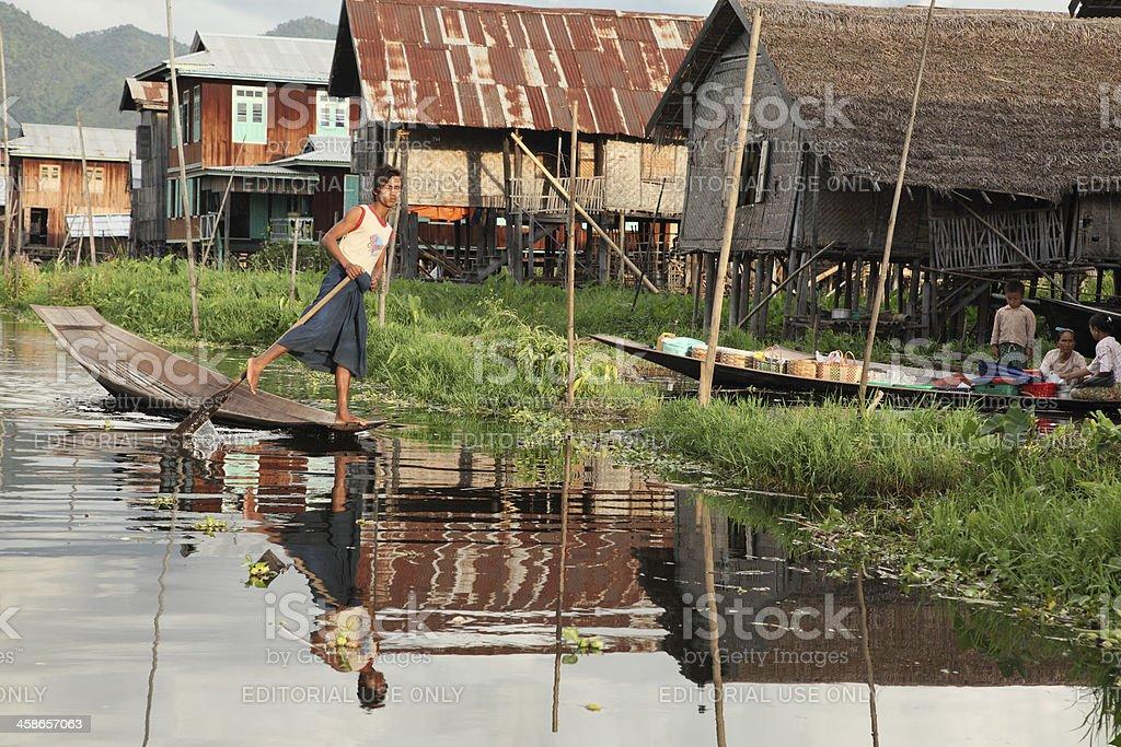 Leg Rowing at Inle stock photo