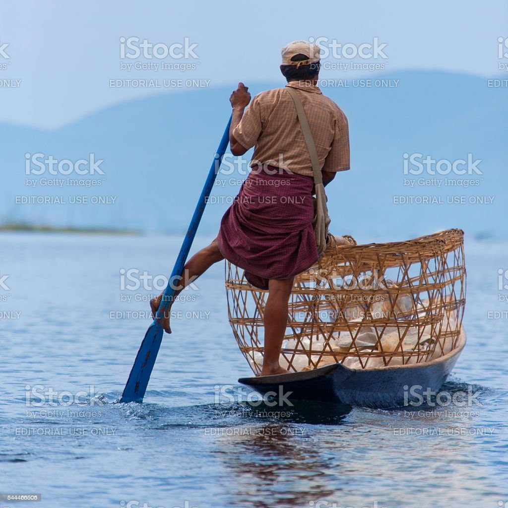 Leg Rowing Fisherman - Inle Lake - Myanmar stock photo