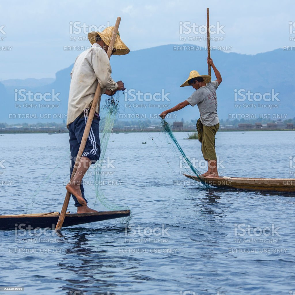Leg Rowing Fishermen - Inle Lake - Myanmar stock photo