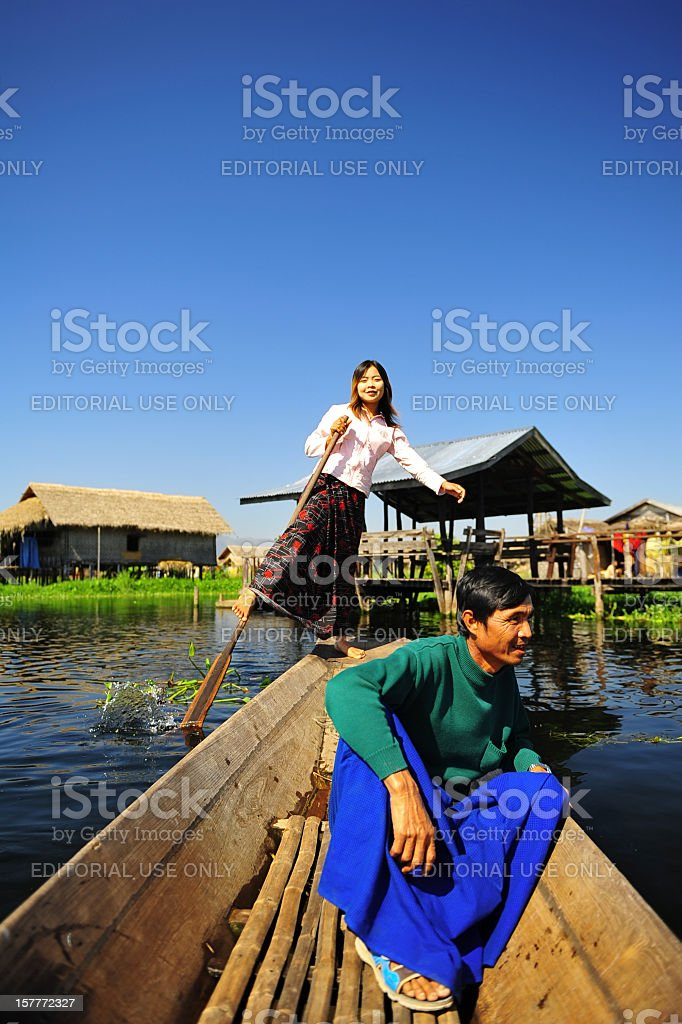 leg rowing in Myanmar stock photo