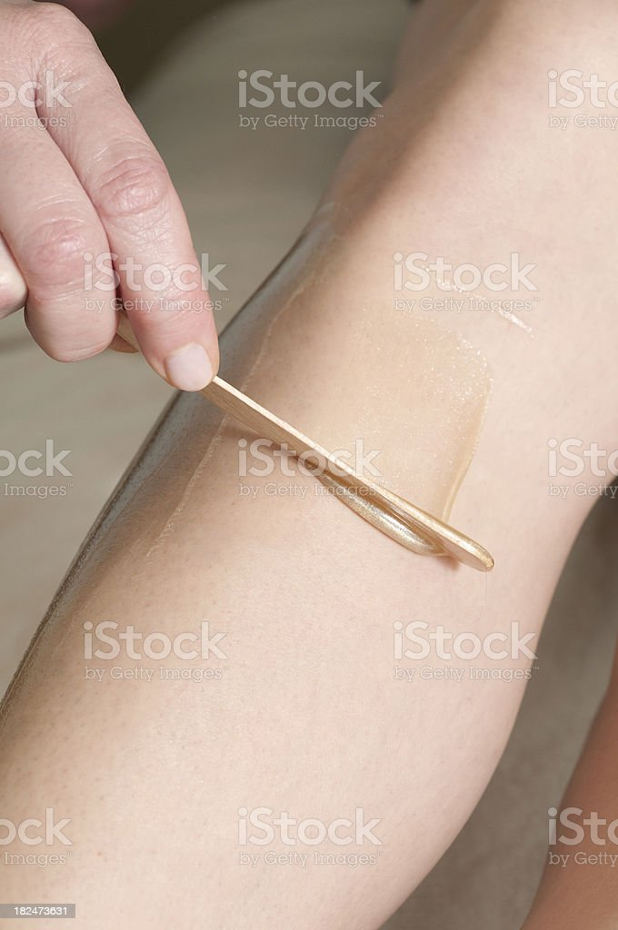 Leg Waxing Series stock photo