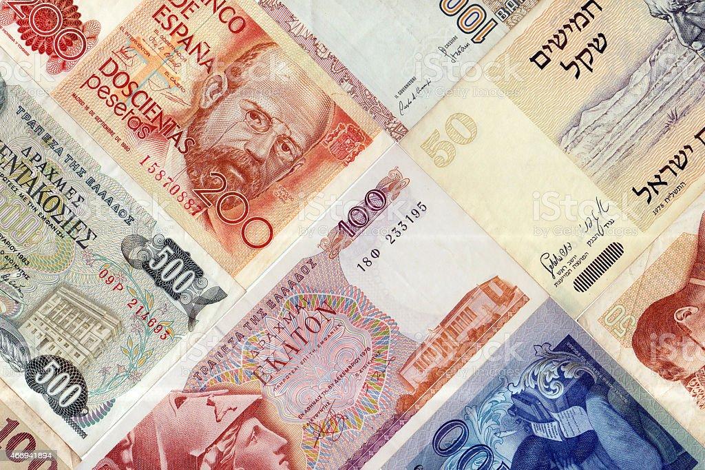 Legacy European Currencies stock photo