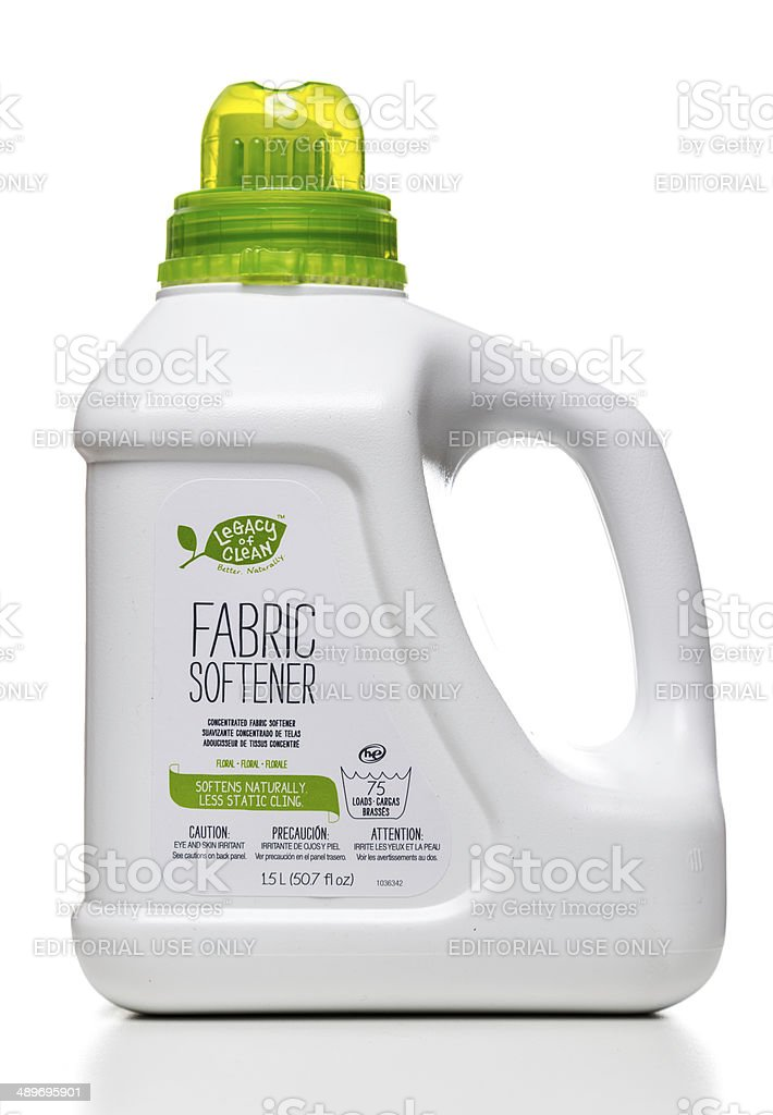 Legacy of Clean Floral Fabric Softener bottle stock photo