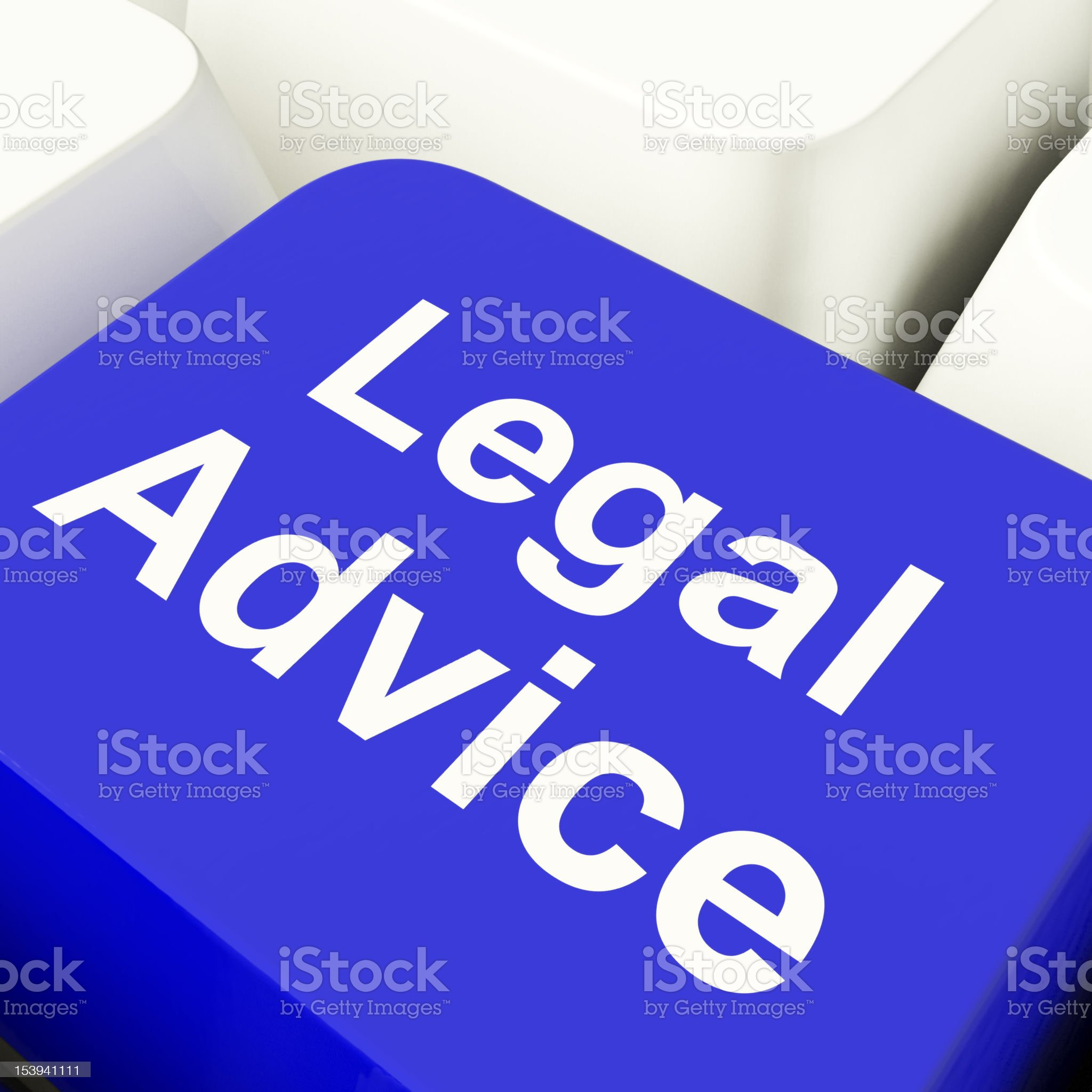 Legal Advice Computer Key In Blue Showing Attorney Guidance royalty-free stock photo