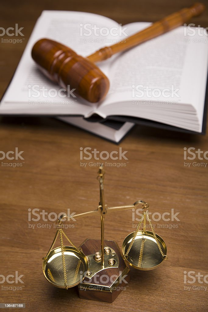 Legal code, scales and gavel royalty-free stock photo