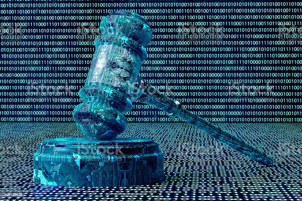 legal computer judge concept, cyber gavel,3D illustration stock photo