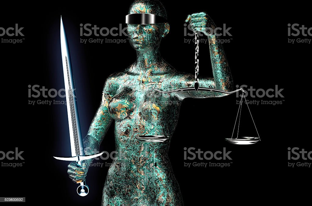 legal computer judge concept, lady justice isolated on black stock photo