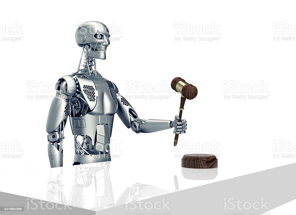 legal computer judge concept, robot with gavel,3D illustration stock photo