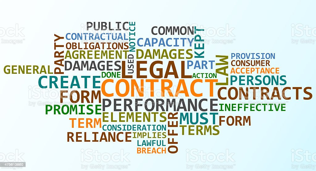 Legal Contract wordclouds stock photo