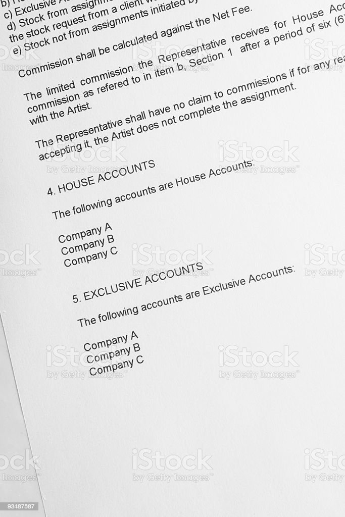 Legal document accounts royalty-free stock photo