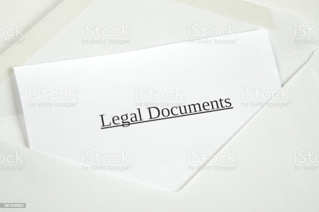 Legal Documents printed on white paper and envelope, white background stock photo